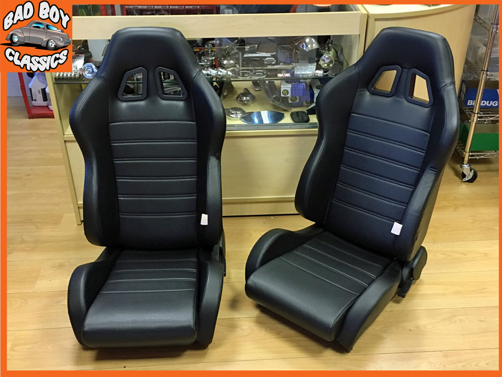 Vintage Auto Seats : Universal black reclining sports seats for classic cars